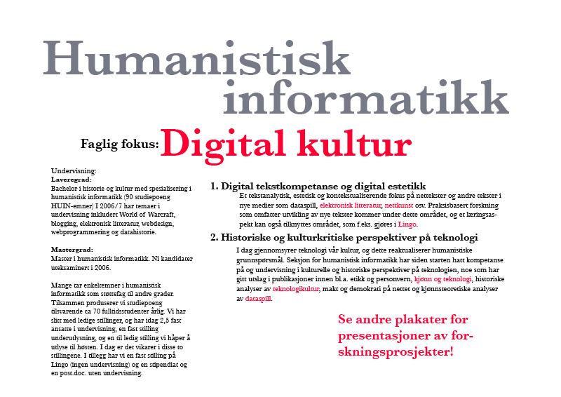 poster about humanistic informatics