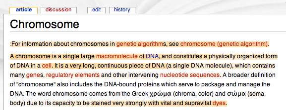 screenshot of demo page in wikipedia with words colour-coded according to the reputation of their authors
