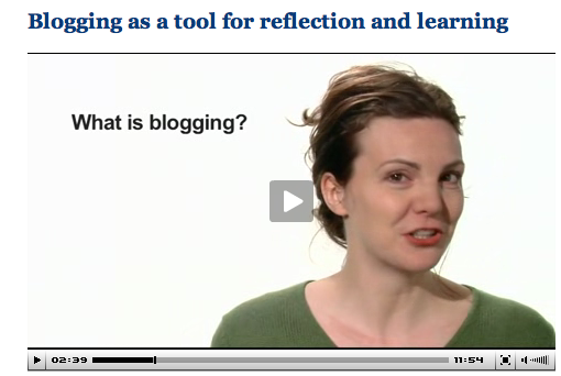 Screenshot of video lecture on blogging and learning