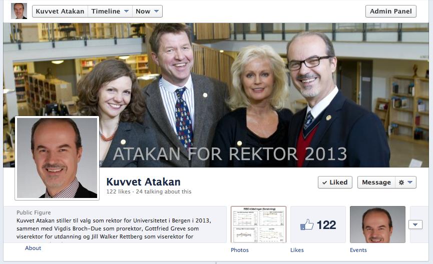 Facebook: Atakan for rektor 2013