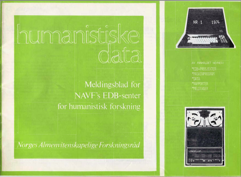 The front page of the second issue of Humanistisk datablad.