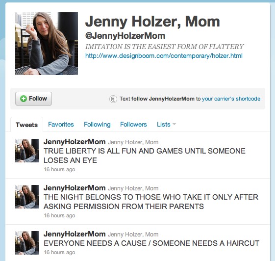 Screenshot of @JennyHolzerMom's most recent tweets.