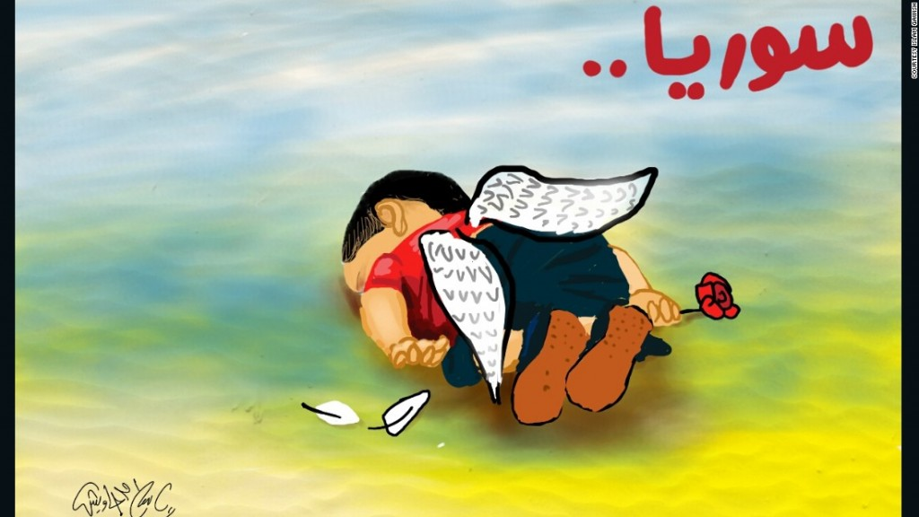 An example of a version of the Aylan image showing Aylan as an angel.