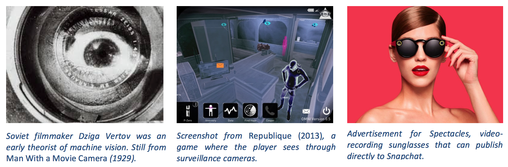 Three images showing examples of machine vision: Vertov's kinoeye, a game that simulates surveillance, Spectacles for Snapchat.