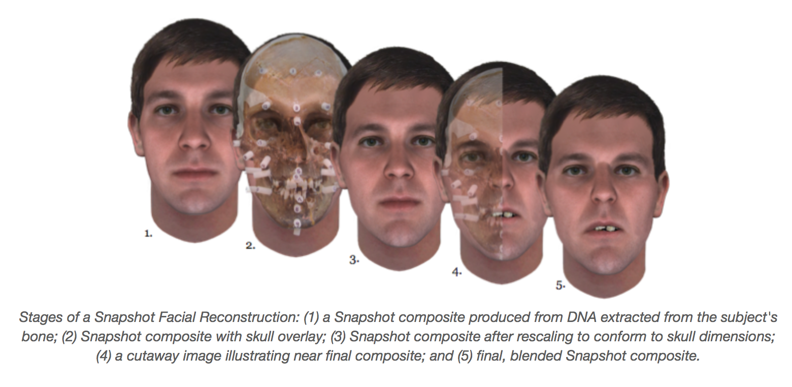 a series of five male faces marked 1 to 5 with the following text: Stages of a Snapshot Facial Reconstruction: (1) a Snapshot composite produced from DNA extracted from the subject's bone; (2) Snapshot composite with skull overlay; (3) Snapshot composite after rescaling to conform to skull dimensions; (4) a cutaway image illustrating near final composite; and (5) final, blended Snapshot composite.