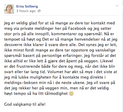 Erna Solberg begs for our understanding: she really appreciates our messages but can't answer them before the election.