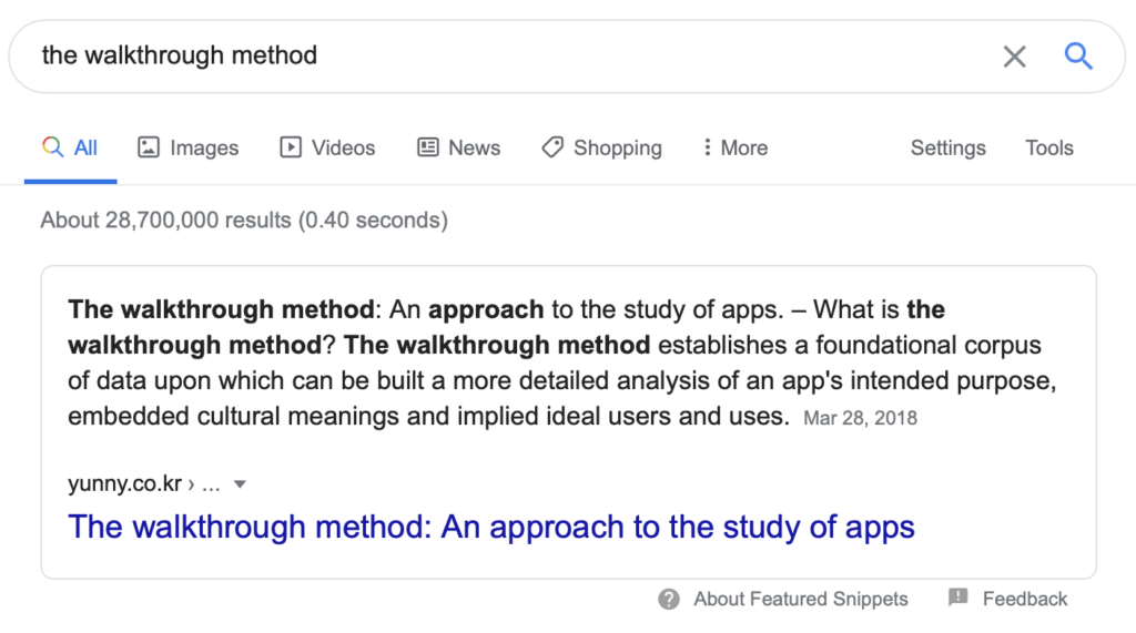"screenshot of the google result for ""the walkthrough method"""